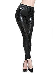 Kadın Koyu Renkli / PU Orta PU / Spandeks Kadın Legging