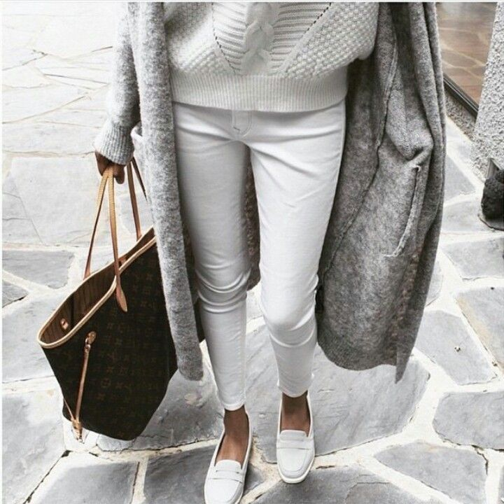 All in White: Oversized Sweater, Cropped Denim, Driving Mocs. Pinned By #TheLifeLinesStudio www.facebook.com/TheLifeLinesStudio.