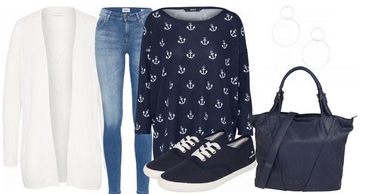 Dieses Outfit eignet sich bestens für den Alltag. Die Outfitkombination besteht aus einem blauen Strickpullover mit weißen Anker-Motiven von Only, einer Bluejeans von Only, einem weißen Cardigan von Vila, blauen Sneaker von Tom Tailor und einer blauen Handtasche. Die Ohrringe runden den Look ab.