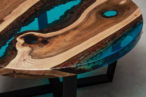 Live Edge Coffee Table Epoxy Resin Table Epoxy Table Walnut