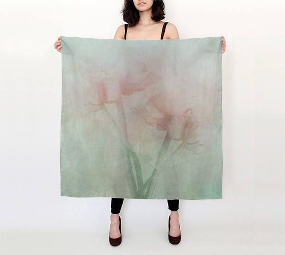 Silk square scarf,printed floral scarf,pure silk scarf,watercolor scarf,art scarf,silk shawl,pastel scarf,cover-up,gift for her,mother's day by OkopipiDesign on Etsy