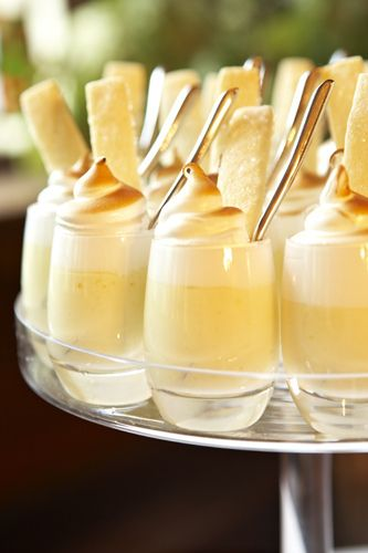 lemon meringue shots - inspiration only - love the glasses and the sugar cookies - bjl
