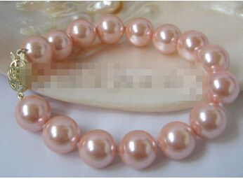 Великолепный 8  12 мм идеально круглый розовый юг морские раковины жемчужный браслет > оптовая продажа прекрасный женская свадебные украшения