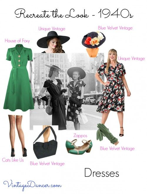 Look out for dresses with knee length hems and gently flared skirts for a 1940s look. Finish with hats, shoes and purses. VintageDancer.com/1940s