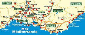 Carte de la Camargue, cartes et plan des Saintes-Maries de la Mer, cartes touristiques
