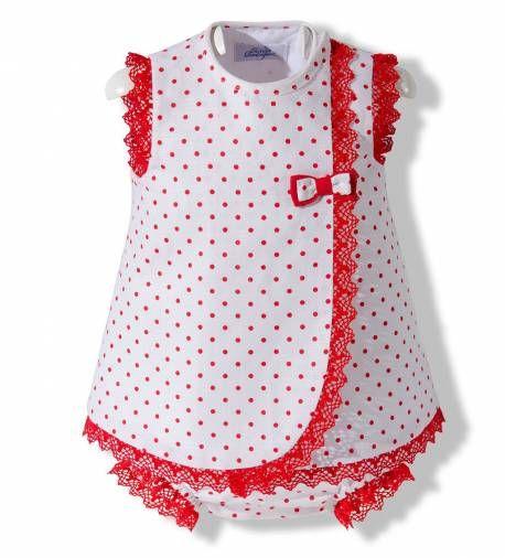 Vestido con capota y ranita de verano para bebé niña confeccionado en lino blanco con lunares y puntillas rojas