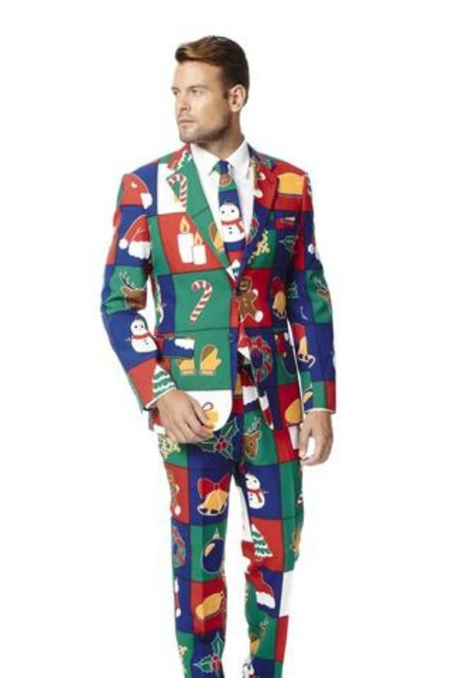 Mens Touch Me Twice Naughty or Nice Patchwork Ugly Christmas Sweater Dress Suit  #Opposuit #TwoButton
