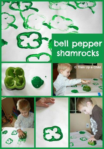 Bell Pepper Shamrocks {St. Patrick's Day Craft for Kids}