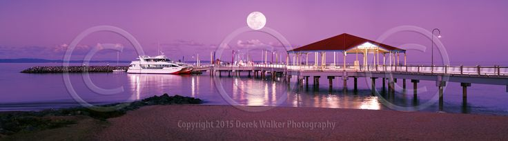 A panorama of the luxurious Eye Spy of Brisbane Whale Watching, moored at the Redcliffe Jetty in Moreton Bay, Queensland, Australia, under a full moon.  For image licensing enquiries, please feel welcome to contact me at derekwalker73@bigpond.com  Cheers :)