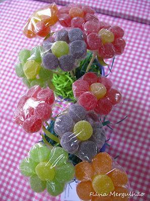 Enfeite para festa infantil – Flor de jujubas