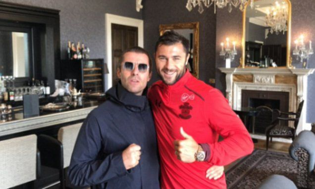 Southampton star Charlie Austin poses with Liam Gallagher