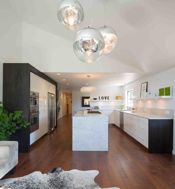 Vanillawood design/build kitchen. Marble counters, dark wood accents, lucite hardware, single streamlined white, high gloss shelf, chrome lighting. Modern kitchen. Contemporary kitchen. Organic modern kitchen.