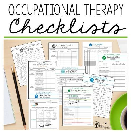 Occupational Therapy Assessment Checklists, documentation forms, and performance resources.