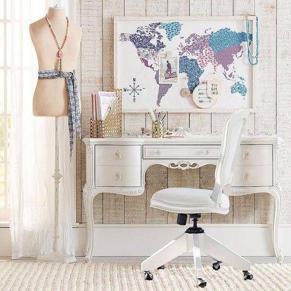 PB Teen Luna Desk ($799) ❤ liked on Polyvore featuring home, furniture, desks, mdf furniture, pbteen, antique white desk, antique white furniture and ivory furniture