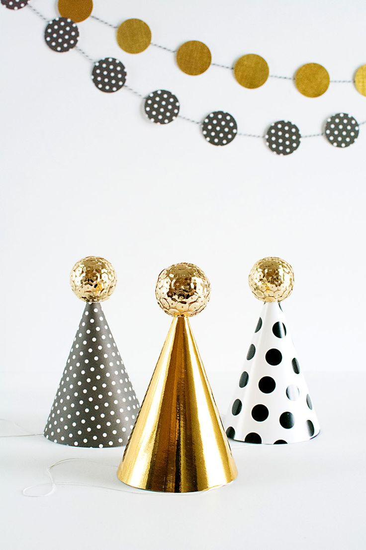 DIY Sequin ball mini party hats for NYE