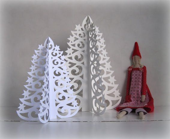 Paper Christmas Trees Picture Tutorial with free printable template...so sweet!