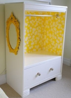 Recycle Dresser Into Kids Dress Up Clothes Storage  Hanging Bar, Wallpaper  Inside, And A Mirror As Well