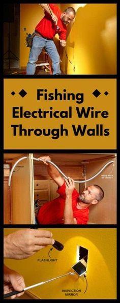 Fishing Electrical Wire Through Walls: Run electrical cable through walls and across ceilings without tearing them apart. http://www.familyhandyman.com/electrical/wiring/fishing-electrical-wire-through-walls