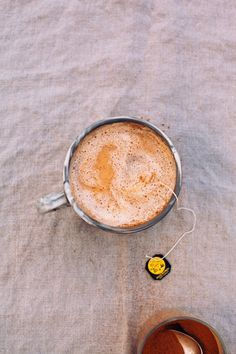 vegan vanilla rooibos tea latte with warm spices - The First Mess Use stevia instead of dates for THM