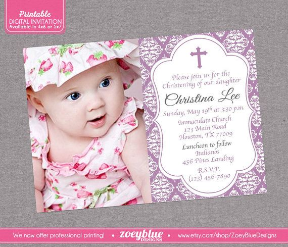 33 best Christening Baptismal and Birthday Invitations images on - invitation for baptism girl