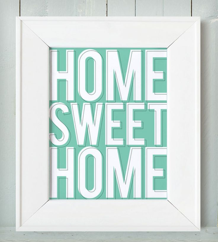 Home Sweet Home Art Print - Mint