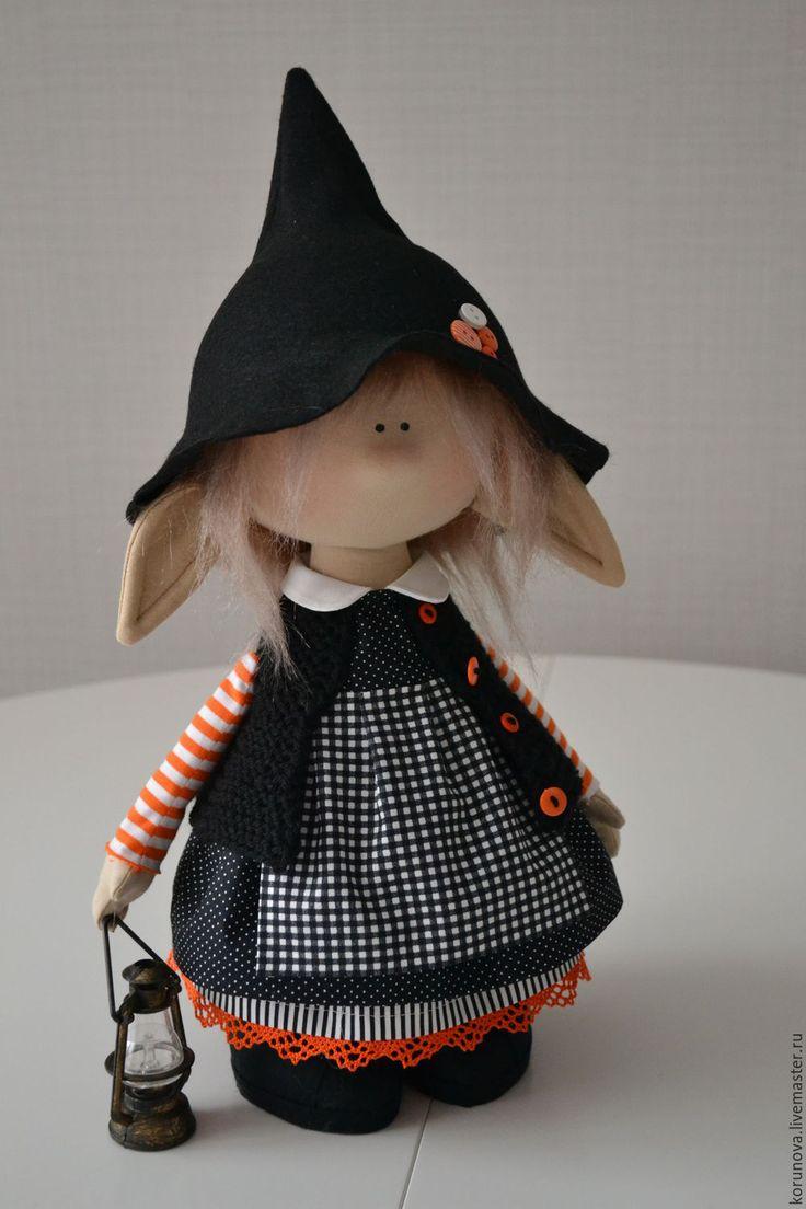 Купить Эльфик-ведьмочка - черный, оранжевый, полоски, горошек, клетка, колпачок, колпак, ведьмочка, хеллоуин