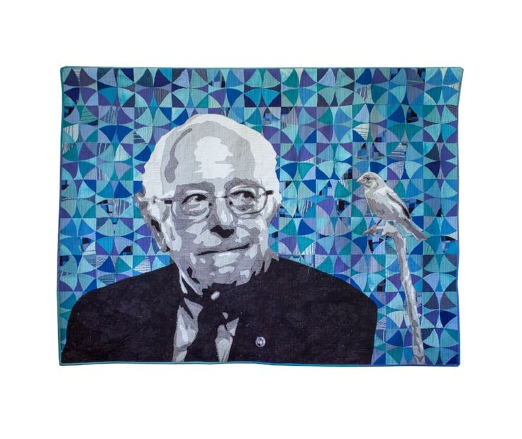 """Bernie Sanders"" modern quilt portrait by Luke Haynes available through Seattle Art Source. Contact sarah@seattleartsource.com for details."