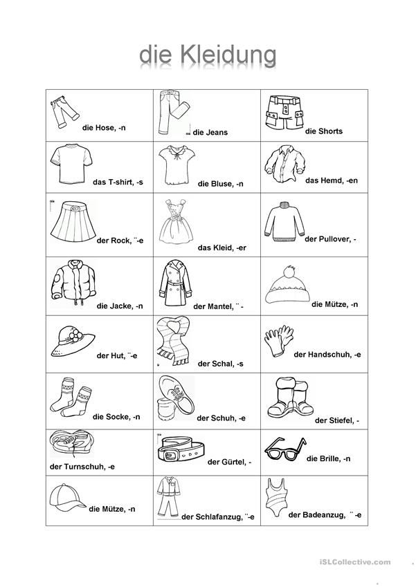 74 best Kleidung images on Pinterest | Worksheets, Games and Student ...