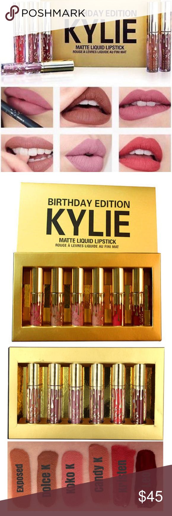 """Kylie """"Birthday Edition"""" liquid lipstick Brand New- comes in original packaging! Kylie """"Birthday Edition"""" liquid lipstick                                               ❤️Limited Edition, Sold Out in Kylie website  ❤️Birthday Edition (6 colors) Kylie Cosmetics Makeup Lipstick"""