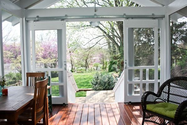 Open sliding screen deck doors - Love the sliding doors instead of swinging doors!