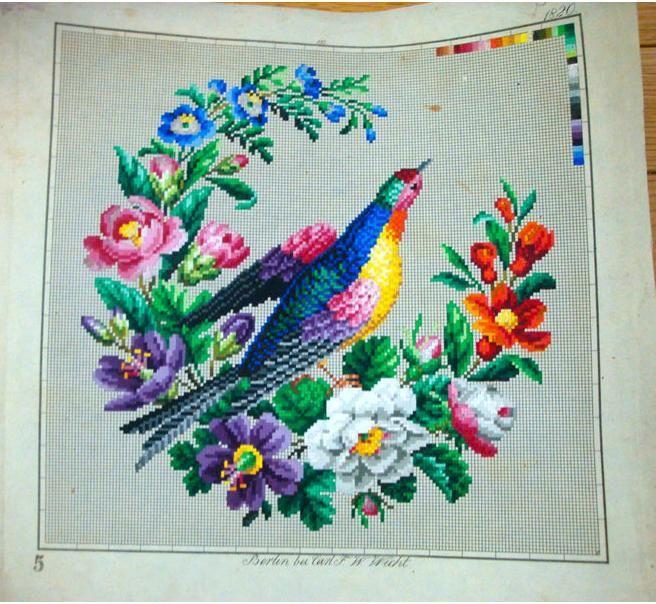 Berlin WoolWork Pattern Bird & Wreath Produced By F.W.Wicht Berlin Gallery.ru