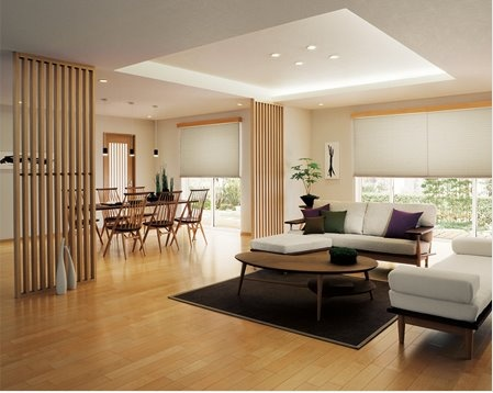 nice wooden living dining area...
