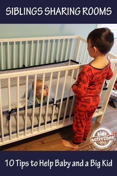 Room sharing tips for a big kid and a baby to help make the transition easier on everyone. Family and parenting tips for siblings sharing a room.
