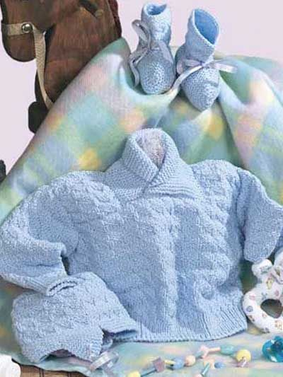 Babies & Children's Knitting - Baby Knitting Patterns - Baby's Triangle Sweater Set