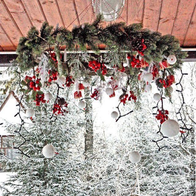 Купить Подвесной рождественский венок Були-Були - ярко-красный, зеленый, подвесной венок