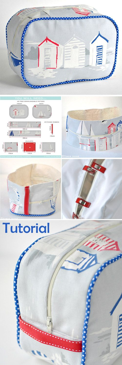 Piped Wash Bag Sewing Tutorial. How-to step by step http://www.free-tutorial.net/2017/09/piped-wash-bag-sewing-tutorial.html