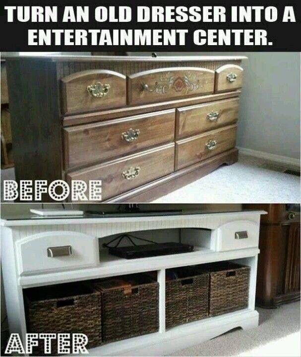 Quite an awesome entertainment center made out of an old dresser.