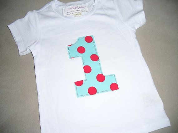 Infant/Toddler Boys First 1st Birthday Aqua Red Polka Dot 1 Shirt 12m 18m 24m 2T. $11.99, via Etsy.
