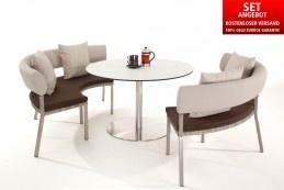 Das Biella Dining-Set bestehend aus zwei Biella Round Modular 2-Sitzer Bänken und einem Davoli Round Dining Table ist ideal für ein gemütliches Beisammensein auf der Terrasse oder auch im Wintergarten. Durch sein modernes Design zaubert das Set ein zeitloses und edles Ambiente in jeden Garten. Outdoor-Möbel mit Lounge-Charakter von Domus Ventures