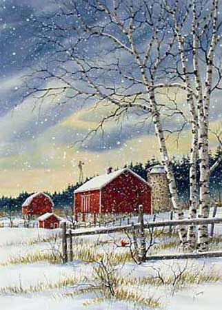 A larger image of Farm beyond the Fence, a limited edition print of a watercolor painting by Kathy Glasnap of Door County, Wisconsin