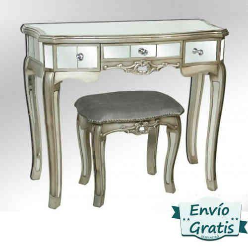 Tocador vintage en madera color plata forrado de espejos - Tocador con espejo ...