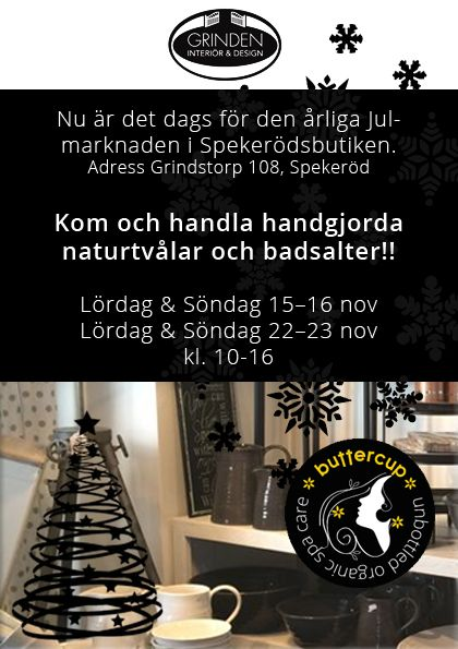 Nu är det högsäsong för alla julmarknader och denan helgen hittar ni oss i Spekeröd! Varmt välkommna GRINSTORP 108 444 93 Spekeröd
