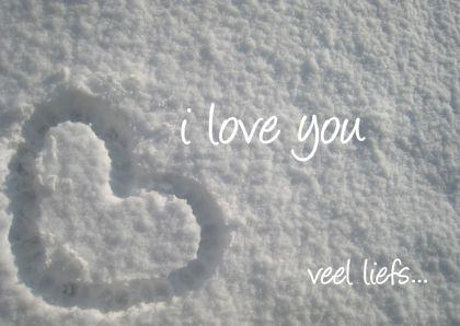 Liefde kaarten - Hartje in de sneeuw