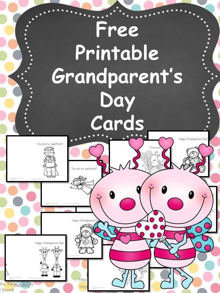Preschool or Kindergarten Reading or Writing Activity -Printable Grandparent's Day Cards - Put a smile on Grandma and Grandpa's face with these cute printable cards.