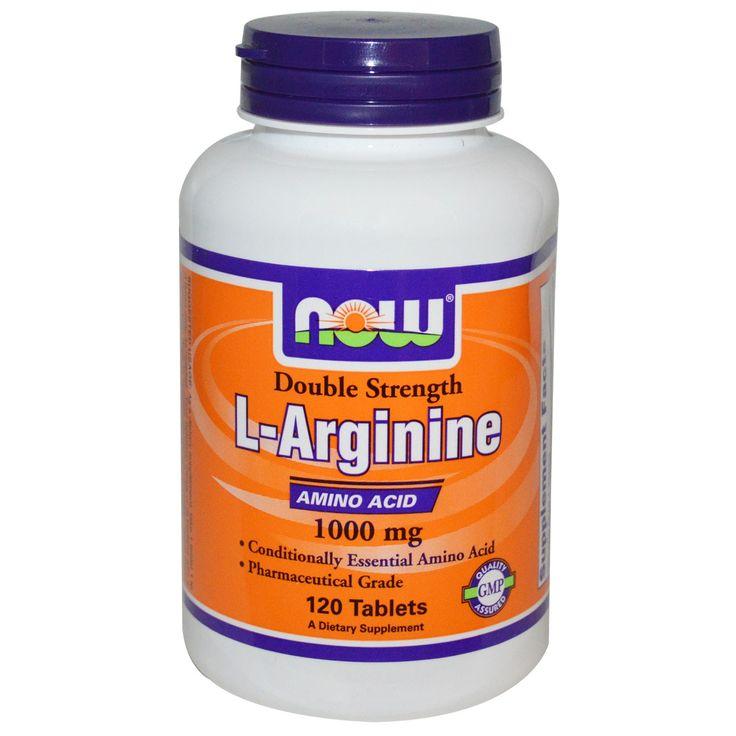 """Now Foods, L-аргинин, 1000 мг, 120 таблетокОчень качественный и относительно недорогой Аргинин.  У кого тяжелые тренировки, используйте сочетание Аргинин+Лизин+Глютамин. Если ещё принимать Q10, будет вообще отлично.  Л-аргинин нормализует давление. Для гипертоников Аргинин - просто панацея.  Ещё один """"побочный эффект"""" - """"мужской"""", тут и так всё понятно."""