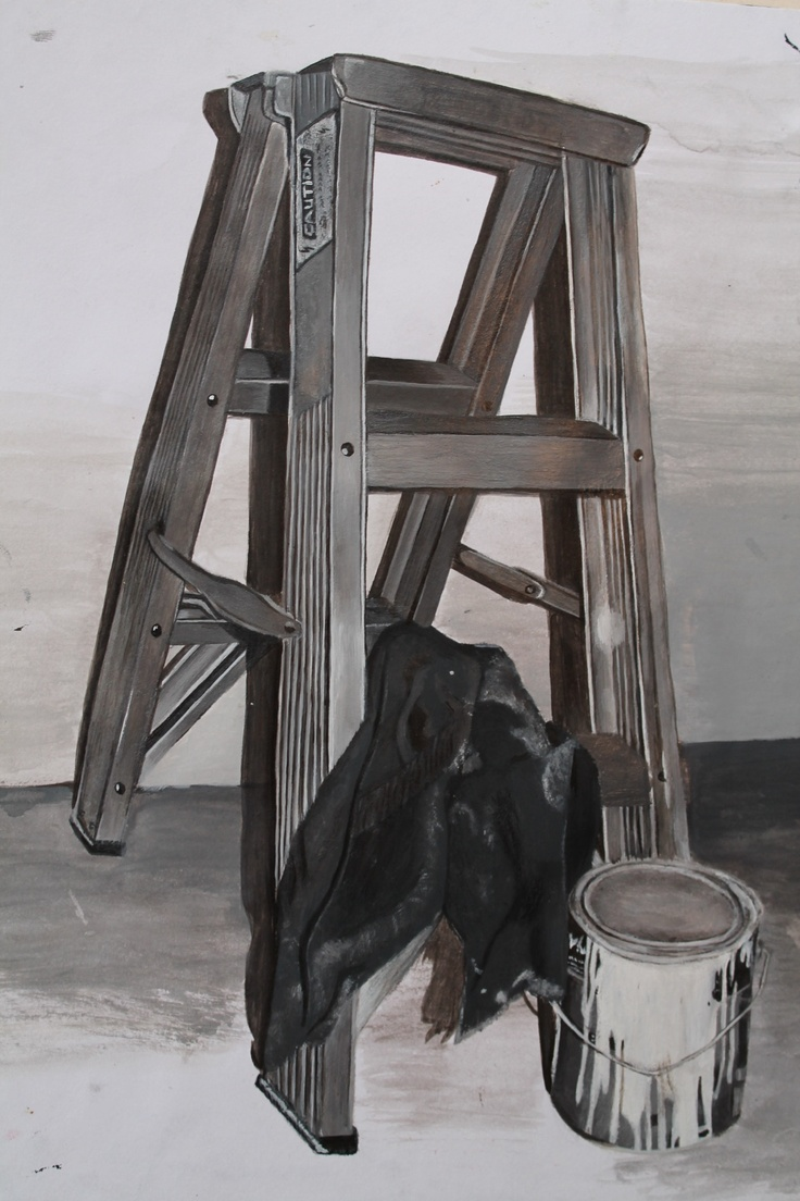 Logan Moffat, 15.  Paint tin and rags upon a ladder.  Materials- acrylic