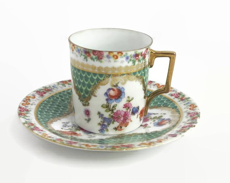 Vintage demitasse cup and saucer, very pretty multi colored floral pattern with lots of gilt, 90 mls by CardCurios on Etsy