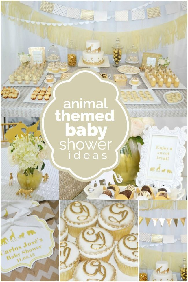 A Golden Safari Themed Baby Shower Baby Shower In 2019 Classy