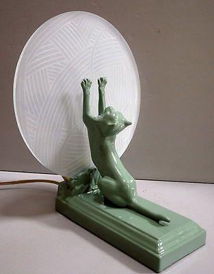 FRANKART Style Art Deco CAT KITTEN Lamp USA Greenie Finish metal and glaSS