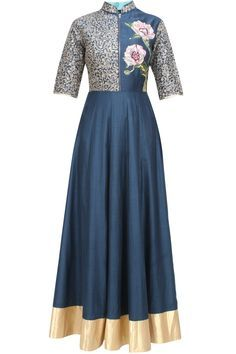 Breathe By Aakansha And Nupur presents Navy blue floral embroidered kalidaar anarkali set available only at Pernia's Pop Up Shop.